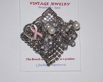 Breast Cancer Awareness Theme.  1-of-a-Kind collage brooch / pendant, made from recycled vintage jewelry.  Heart pearls pink ribbon...#98.