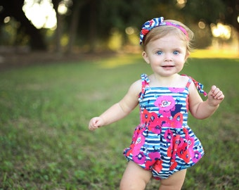 Bubble Romper, Sunsuit, Baby Bubble Romper, Toddler Bubble Romper, Baby Sunsuit, Toddler Sunsuit, Girls Romper in Striped Poppy Floral