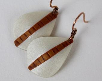 Minimalist Earrings, Neutral Earrings, Modern Minimal, Polymer Earrings, Copper Earrings, Etsy Gifts, Lightweight Earrings, Simple Earrings