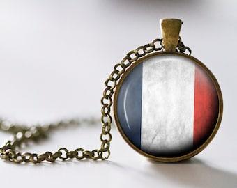 French Flag Pendant Necklace - Bronze - France - France Necklace - France Jewelry - Paris Necklace - French Flag Necklace