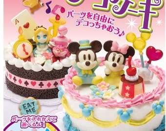 2009 / Full Set Of 6 / Re-ment / Disney / Deco Cakes / Dollhouse Miniatures / Candy Toy / Alice / Mickey /  Winnie / Stitch / Dumbo