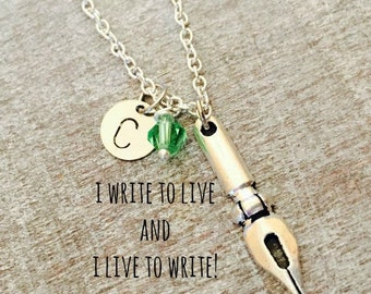 CUSTOM NECKLACE Silver Plated Necklace, Pen Nib Necklace, Writers Necklace, Author Necklace, Writers Jewelry, gift for writer, Personalized,