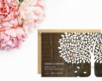 Save The Date, Wedding Tree Save The Date Cards, Tree Wedding Invitations with Rustic Wood Background