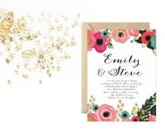 Flower Wedding Invitation, Unique Floral Invitation Set
