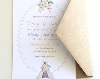 Rustic Floral Teepee Wedding Invitations
