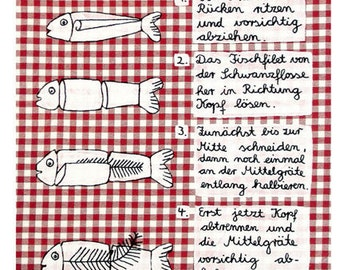 "Postcard ""fillet of fish"" instructions from a cookbook"