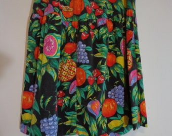 True Vintage 80s Gitano Plus Fruity Fruit Print Skirt Elastic Waist, Large XL