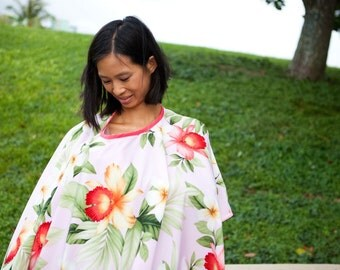 Full Coverage Nursing Cover, Car Seat Cover, pink, plumeria, orchids - compact, full coverage, multi-purpose, baby blanket, hawaiian