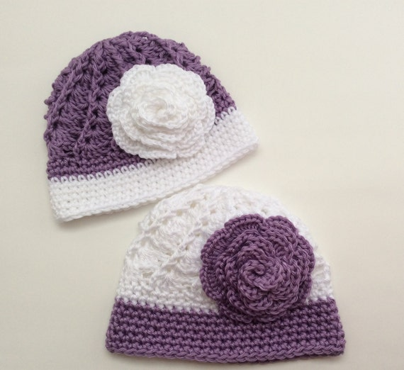 Crochet Hat Patterns For Twin Babies : Crochet Twin Hats Coming Home Baby Hat Set by ...