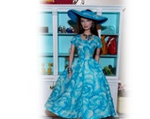 """Handmade """"Rosy Blues"""" Dress & Hat fits Vintage, Classic, Modern, Silkstone Barbies and Fashion Royalty Dolls.  Handmade Barbie Clothes"""
