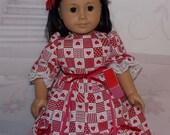 Best Friends.  Handmade American Girl Clothes. Valentine Heart Dress, Petticoat Slip, Red Hair Flower Barrette & Valentine Box. AG Clothes