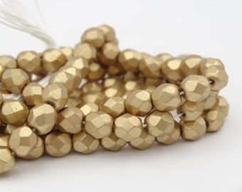 Czech Glass 6mm Fire Polish Silky Gold  25 Pieces