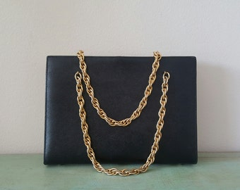Vintage CLASSIC BLACK PURSE 1960s Saks Fifth Avenue Structured Gold Chain Strap. Mad Men. Chic. Fashion. Mod.