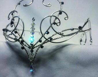 Silver swarovski elements wedding circlet tiara head wear crown medieval elven diadem