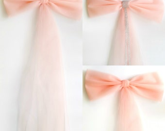 Blush Wedding Decor Peach Decoration Pew Bow