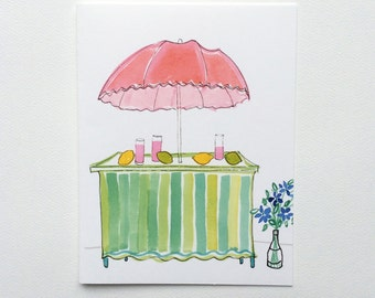 Whimsical Pink lemonade Stand Note Cards
