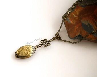Oval Locket Celtic Knot Celtic Locket Necklace Long Locket Necklace Multiple Picture Locket 4 picture locket Victorian Bronze Antiqued