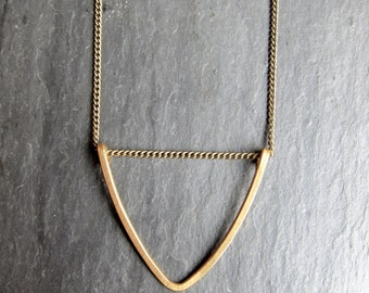Hanging Brass Triangle Necklace