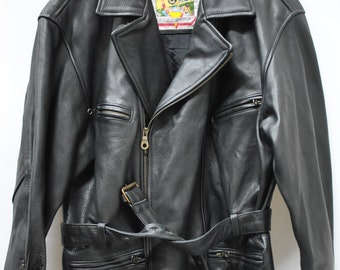 Vintage PELLECCINI MEN'S MOTORCYCLE leather jacket ....(044)
