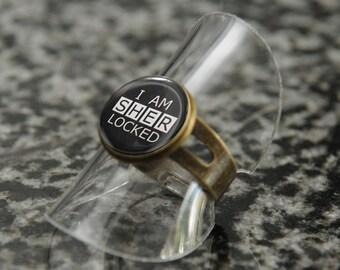 I Am SHERlocked ring – BBC Sherlock fandom cosplay jewellery / jewelry – bronze or silver tone