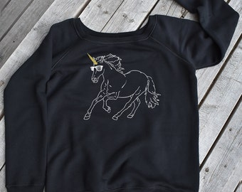 Unicorn Sweatshirt, Womens wide neck