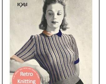 1940s Sideways Sweater Vintage Knitting Pattern -PDF KNITTING PATTERN - Instant Downlaod Knitting Pattern