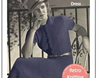 1930's  Shirt Waist 2 Piece Dress Knitting Pattern - Instant Download - PDF Instant Download - PDF Knitting Pattern