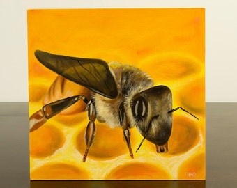 Bumble Bee Painting, Original Oil