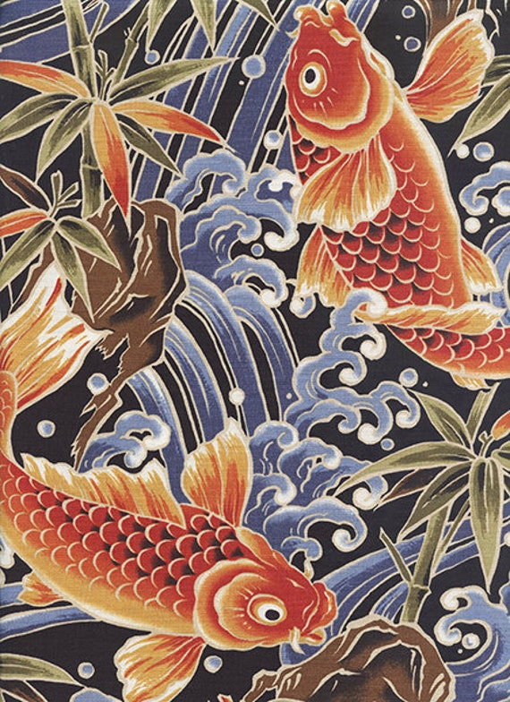 Majestic koi black asian japanese fabric bty for Koi fish print fabric