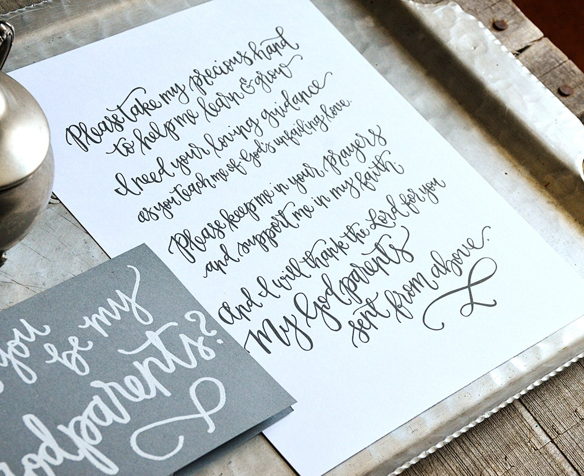 Gift For Godmother Godmother Gift Mothers Day Gift: Godparents Poem Godmother Gift From Godchild Handwritten