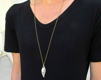 Men's Necklace Men's Minimal Long Necklace Men's Silver Necklace Mens Jewelry
