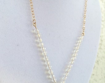 Mixed Metal Opalite Linear Necklace