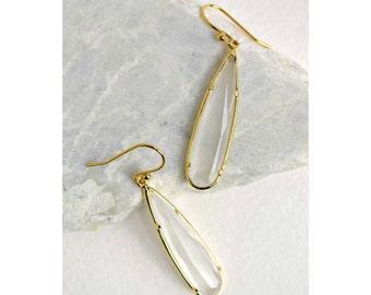 Smokey White Gold Drop Earrings, Clear Drop Earrings