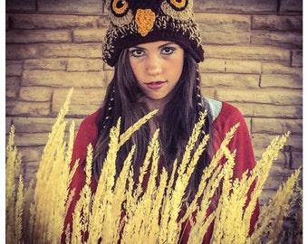 Brown Hoot Owl Costume Crochet Hat
