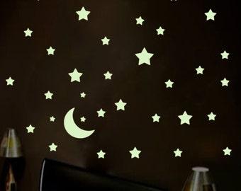 45x Glow in the Dark Wall Decals Stars Moon Glow Stickers Nursery Wall Decor