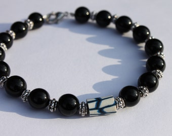 Black Jasper Beaded Bracelet, Made to order