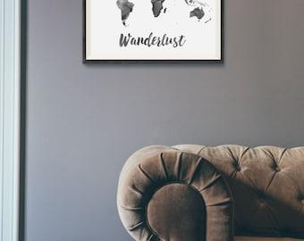 Wanderlust Print - Watercolor World Map Print - Travel Quote World Map - Black Watercolor Map - World Map Quote - Travel Decor - Wall Art