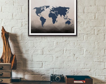 Navy World Map Print - Ombre Art - Watercolor Map - Wall Art Map - World Map Poster - Ombre Watercolor - Travel Map - Travel Print