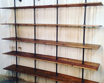 Industrial Furniture - Modern industrial shelf unit - Pipe shelving with wooden shelves - Pipe Bookshelves - Industrial Envy Pipe bookcase