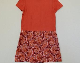 1960's Disco Paisley // Linen Blend // Shift Dress