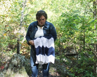Crochet Striped Chevron Baby Blanket, Zig Zag Baby Blanket, Throw Blanket, Navy Blue and White, Made to Order