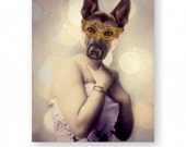 """Dog Art Print German Shepherd Animal Art Anthropomorphic Animals In Clothes Funny Gift (3 Sizes Available) """"When Midge Was Asked To Dance"""""""