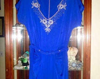 1940s Beaded Gown in Royal Blue - An Amazing Vintage Show Stopper!