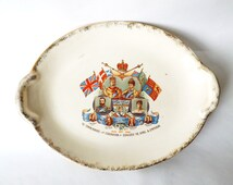 Antique Platter Edward VII 7 1902 Royal Coronation, Royal Family, Lord Hopetoun Australia, Viceroy of India, Lord Minto Canada, Alexandra