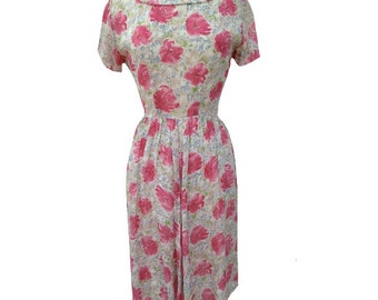 1950s pink floral vintage rayon dress