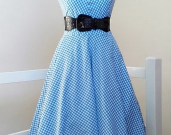 Dorothy - Handsewn/Handmade Blue Gingham PolyCotton 3/4 Circle Swing Dress. Custom Made
