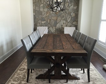 Montgomery Dining Table 2 1 Thick Trestle X Farmhouse
