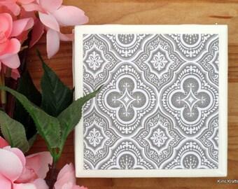 Ceramic Tile Coasters - Coaster Set - Table Coasters - Gray Coasters - Coaster - Tile Coaster - Coasters for Drinks - Coasters Tile
