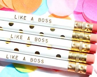 Like a Boss Pencil Set, Set of 5 Hex Pencils, Gold Foil Pencils, Engraved Pencils, Custom Pencils, Personalized Pencils, Stocking Stuffer