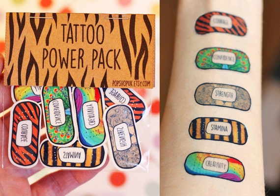 Band aid tattoos stocking stuffer power pack animal by for Band aid tattoo